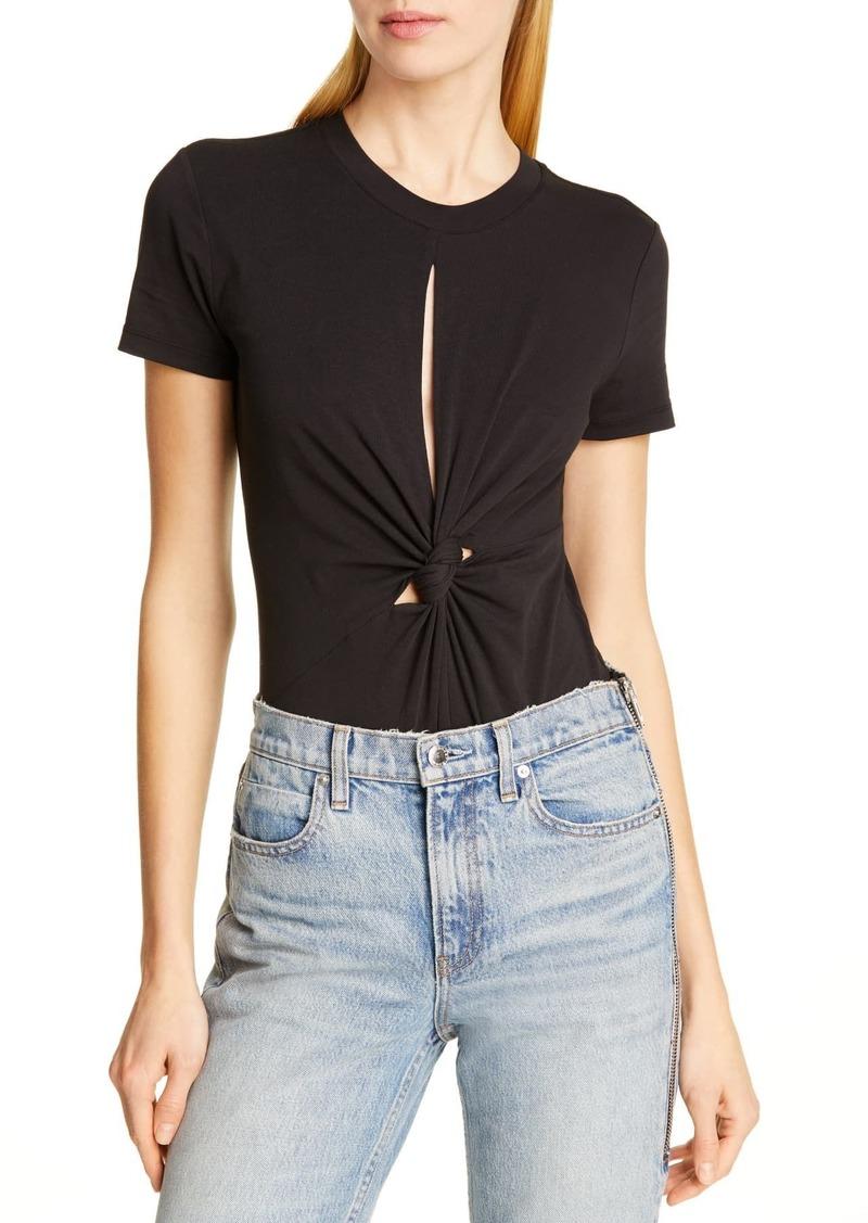 T by Alexander Wang Keyhole Twist Compact Jersey Bodysuit