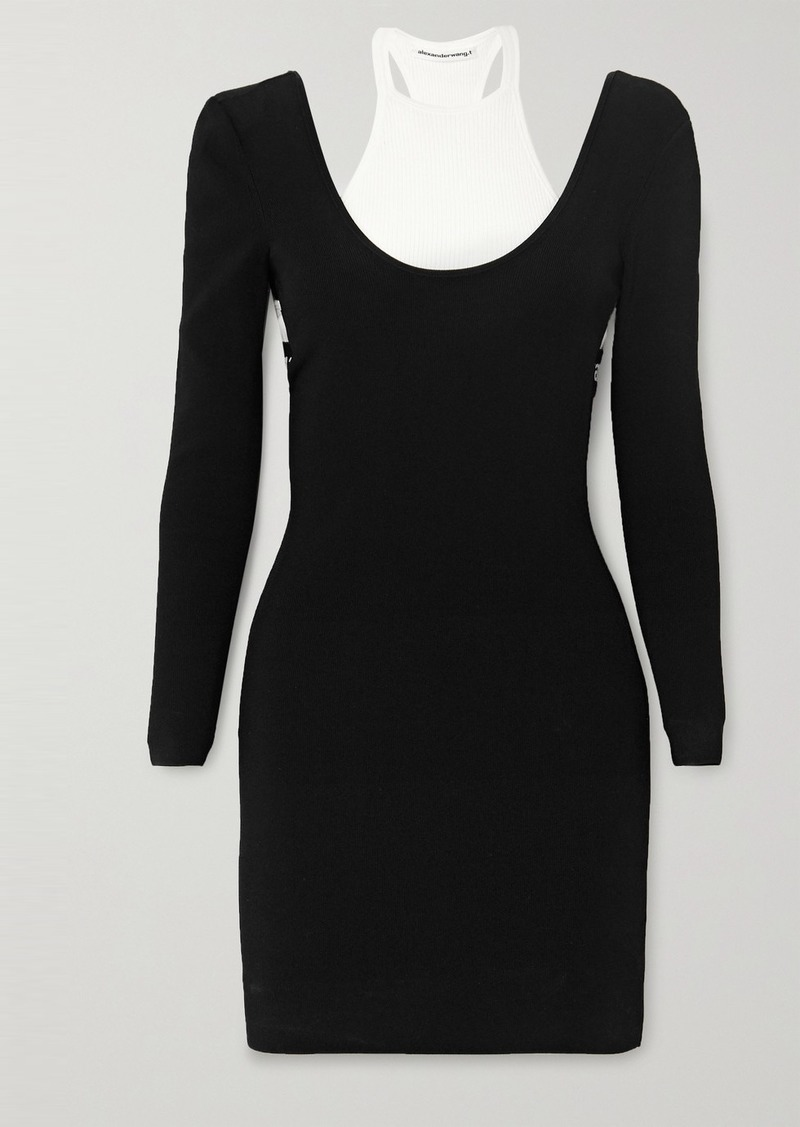 T by Alexander Wang Layered Jersey And Ribbed Cotton-blend Mini Dress