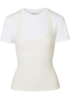 T by Alexander Wang Layered Jersey And Ribbed Cotton T-shirt