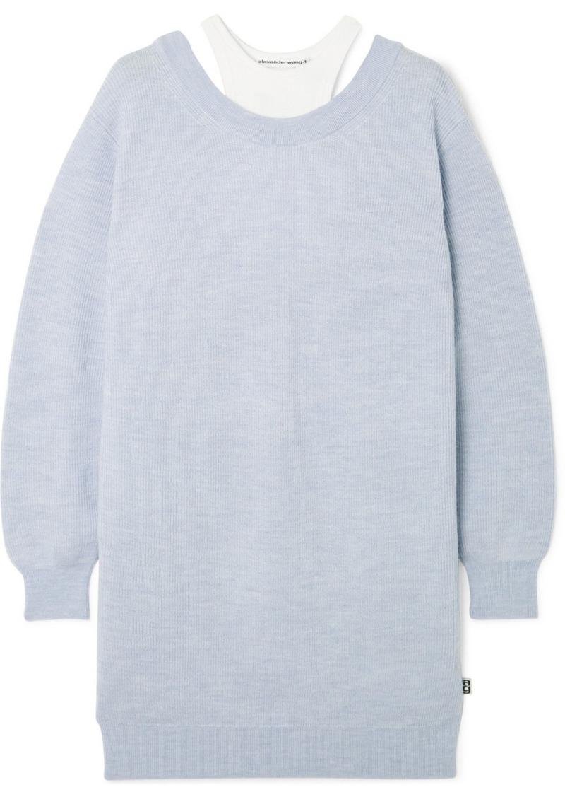 T by Alexander Wang Layered Merino Wool And Stretch-cotton Jersey Mini Dress