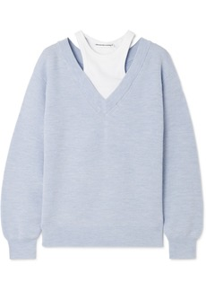 T by Alexander Wang Layered Merino Wool And Stretch Cotton-jersey Sweater