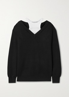T by Alexander Wang Layered Merino Wool And Stretch-cotton Jersey Sweater