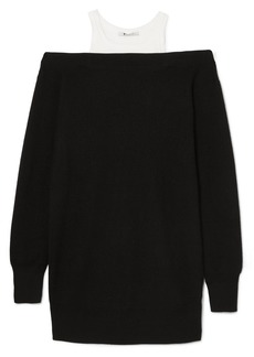 T by Alexander Wang Layered Merino Wool-blend And Cotton Dress