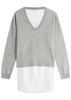 T by Alexander Wang Layered Merino Wool Pullover and Shirt Combo
