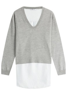 T by Alexander Wang Layered Merino Wool Pullover and Shirt Combo