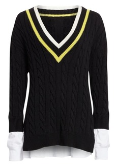 T by Alexander Wang Layered Varsity Cable-Knit Sweater