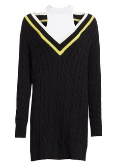 T by Alexander Wang Layered Varsity Longline Cable-Knit Sweater