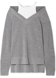 T by Alexander Wang Layered Wool And Stretch-cotton Jersey Sweater