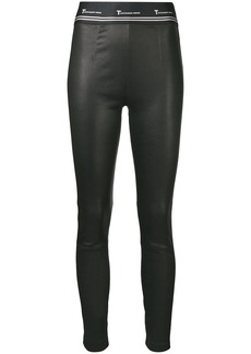 T by Alexander Wang leather logo leggings