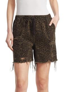 Alexander Wang Leopard Print Jogger Shorts