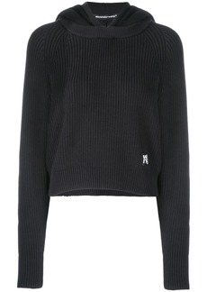 T by Alexander Wang logo patch knitted hoodie