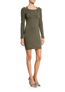 T by Alexander Wang Mesh Stripe Bi-Layer Long-Sleeve Mini Dress