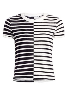 T by Alexander Wang Mix Stripe Linen-Blend Tee
