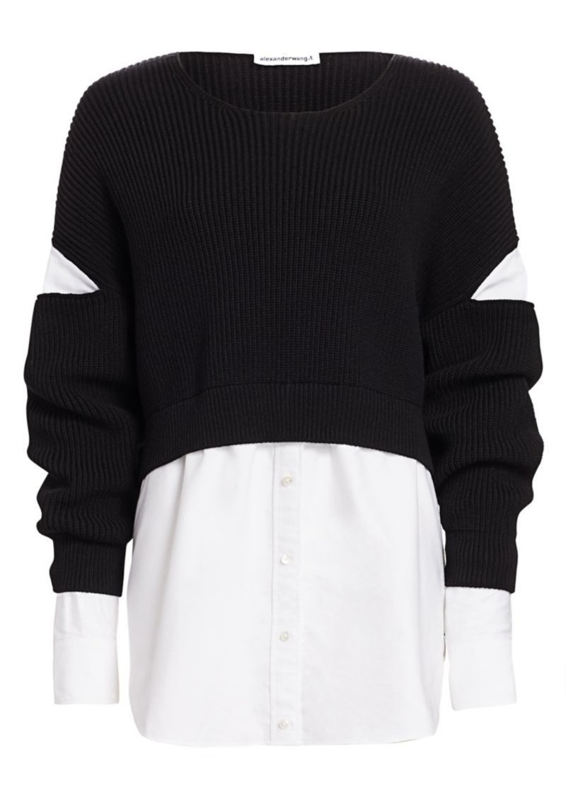 T by Alexander Wang Mixed-Media Cotton Poplin Ribbed Top