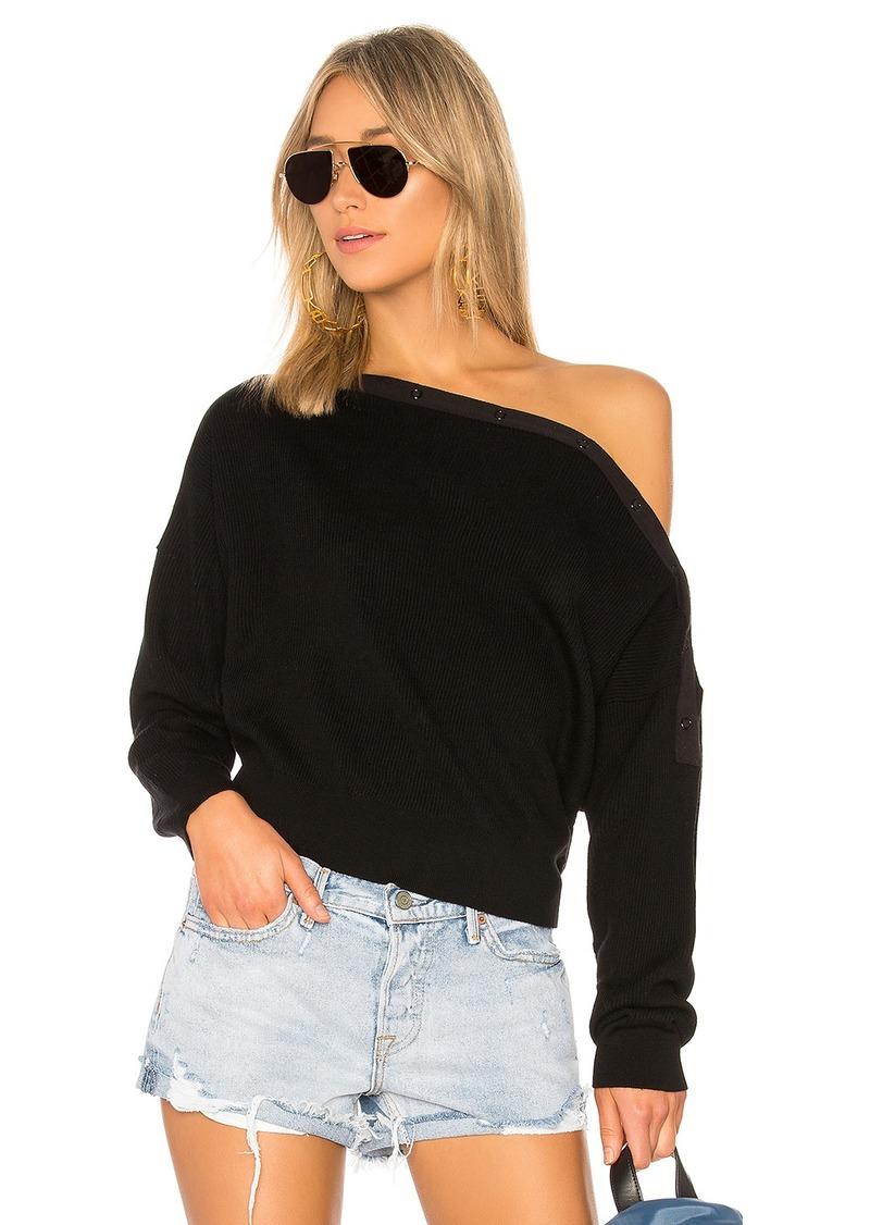 67702b44b67686 T by Alexander Wang Off Shoulder Crop Sweater