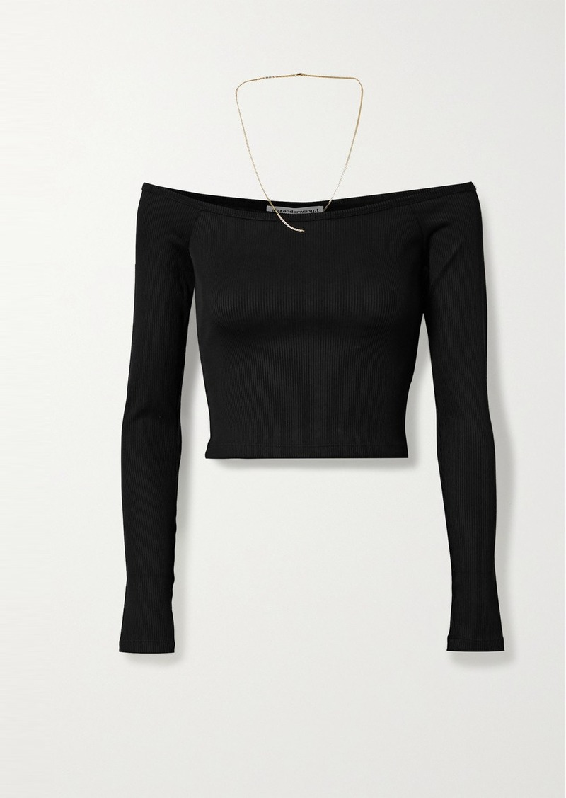T by Alexander Wang Off-the-shoulder Chain-embellished Ribbed Stretch-jersey Top