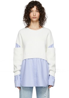 T by Alexander Wang Off-White & Blue Bi-Layer Pullover Shirt Sweater