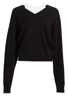 T by Alexander Wang Oversized Bi-Layer V-Neck Sweater