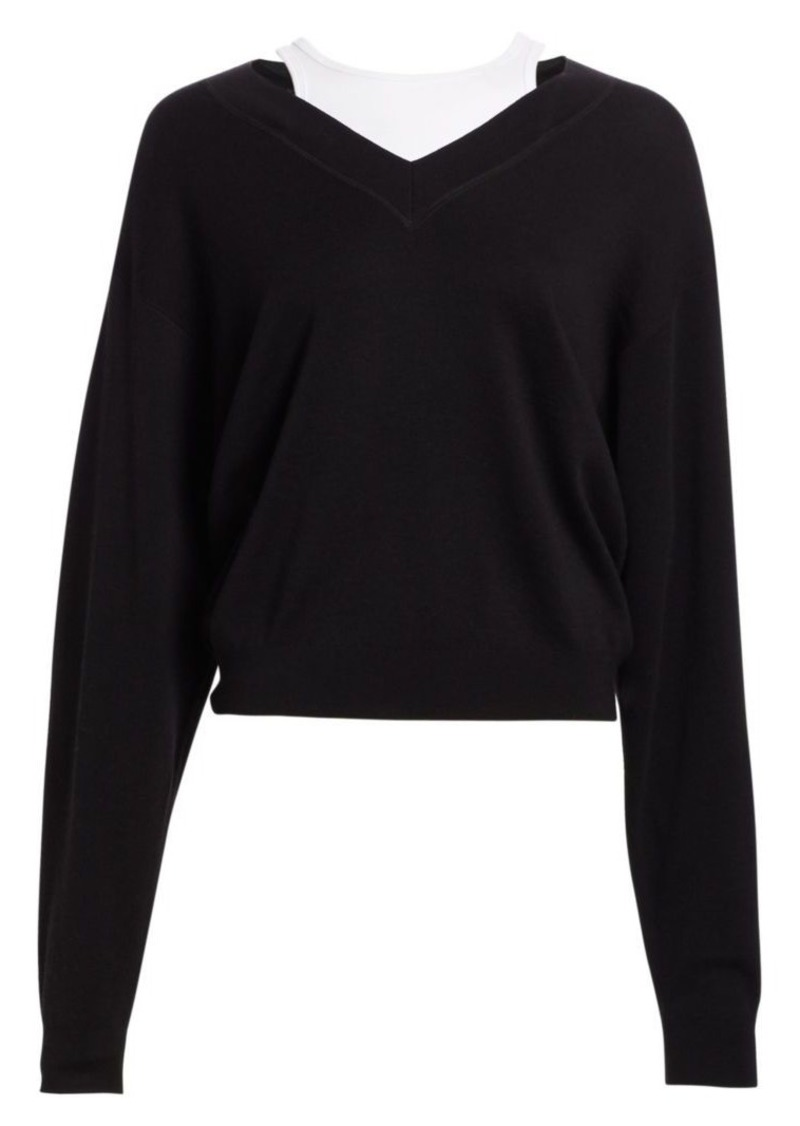 T by Alexander Wang Oversized Bi-Layer V-Neck Sweater