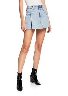 T by Alexander Wang Pleated Denim Mini Skirt