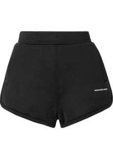 T by Alexander Wang Printed Coated French Cotton-blend Terry Shorts