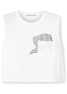 T by Alexander Wang Printed Cotton-jersey Tank