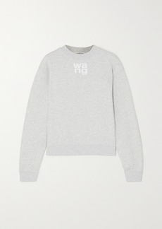 T by Alexander Wang Printed Mélange Cotton-blend Jersey Sweatshirt