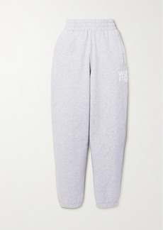 T by Alexander Wang Printed Mélange Cotton-blend Jersey Track Pants