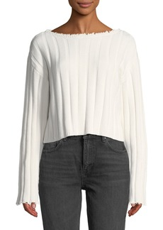T by Alexander Wang Raw-Edge Cropped Pullover Sweater