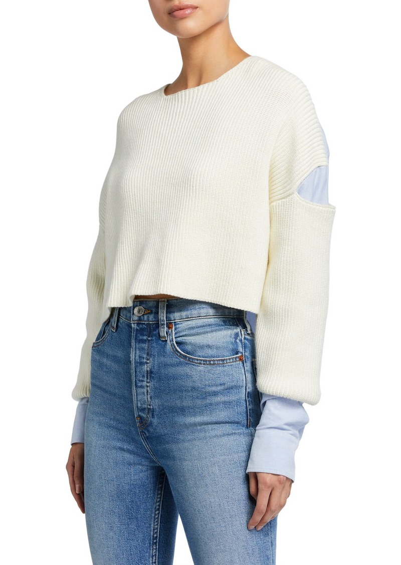 T by Alexander Wang Ribbed Bilayer Cropped Pullover