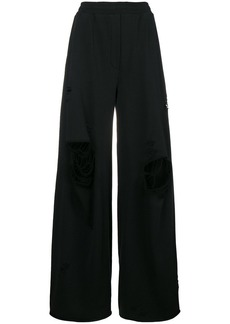 T by Alexander Wang ripped palazzo trousers