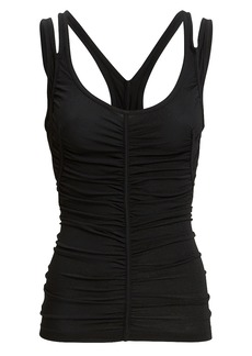 T by Alexander Wang Ruched Black Tank