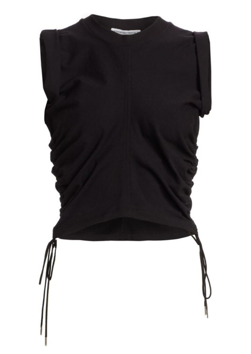 T by Alexander Wang Ruched Crop T-Shirt