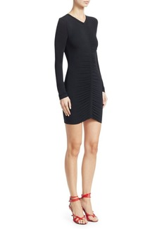 T by Alexander Wang Ruched Jersey Crepe Sheath Dress