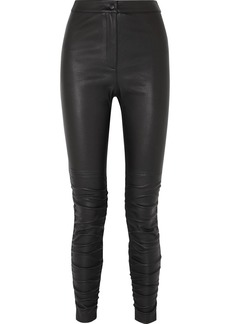 T by Alexander Wang Ruched Stretch-leather Skinny Pants