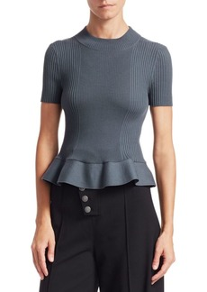 T by Alexander Wang Ruffled Hem Ribbed Top