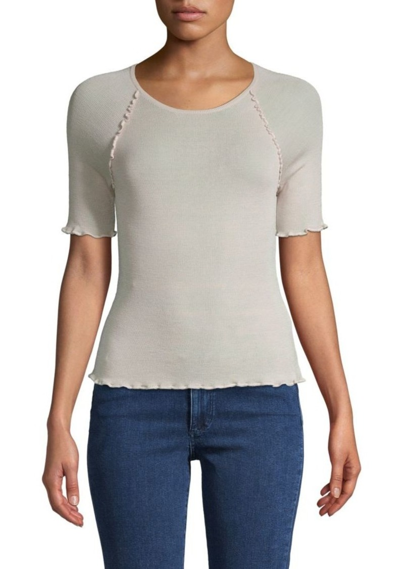 T by Alexander Wang Ruffled-Trimmed Wool-Blend Top