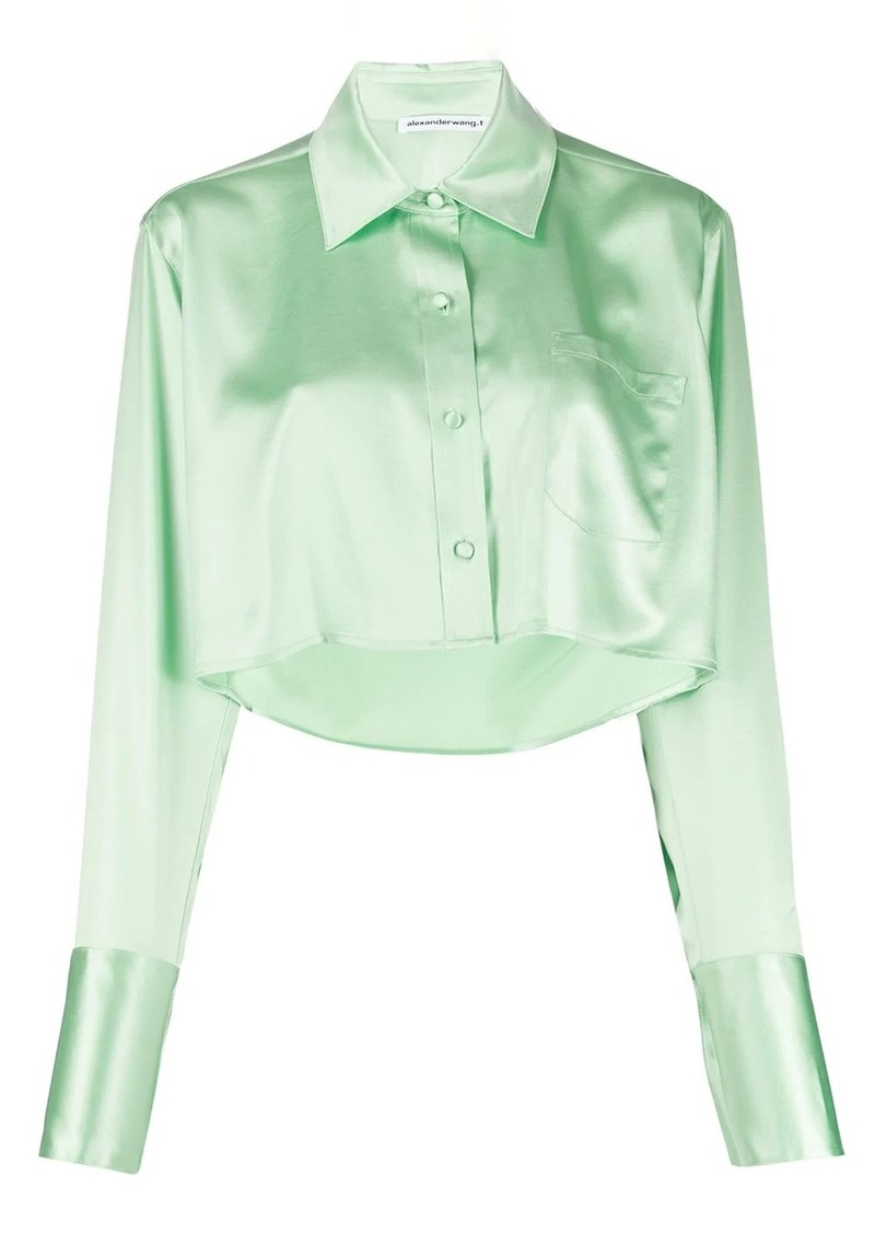 T by Alexander Wang Shine Wash and Go cropped satin blouse