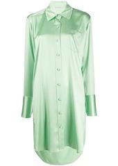 T by Alexander Wang Shine Wash and Go satin shirt dress