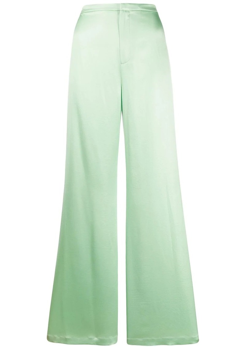 T by Alexander Wang Shine Wash and Go satin wide leg trousers
