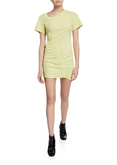 T by Alexander Wang Short-Sleeve Asymmetric Ruched T-shirt Dress
