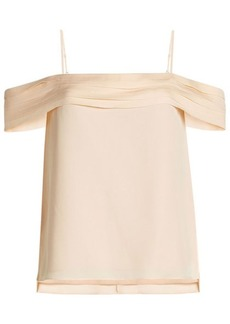 T by Alexander Wang Silk Top with Cold Shoulder Sleeves