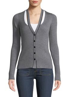 T by Alexander Wang Skinny Ribbed Layered Fitted Cardigan