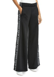 T by Alexander Wang Sleek Wide-Leg Logo Snap-Up French Terry Pants