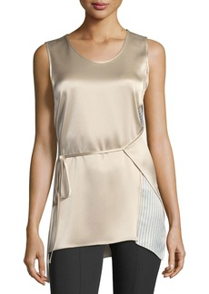 T by Alexander Wang Sleeveless Heavy Drape Satin Wrap Top w/ Striped Combo