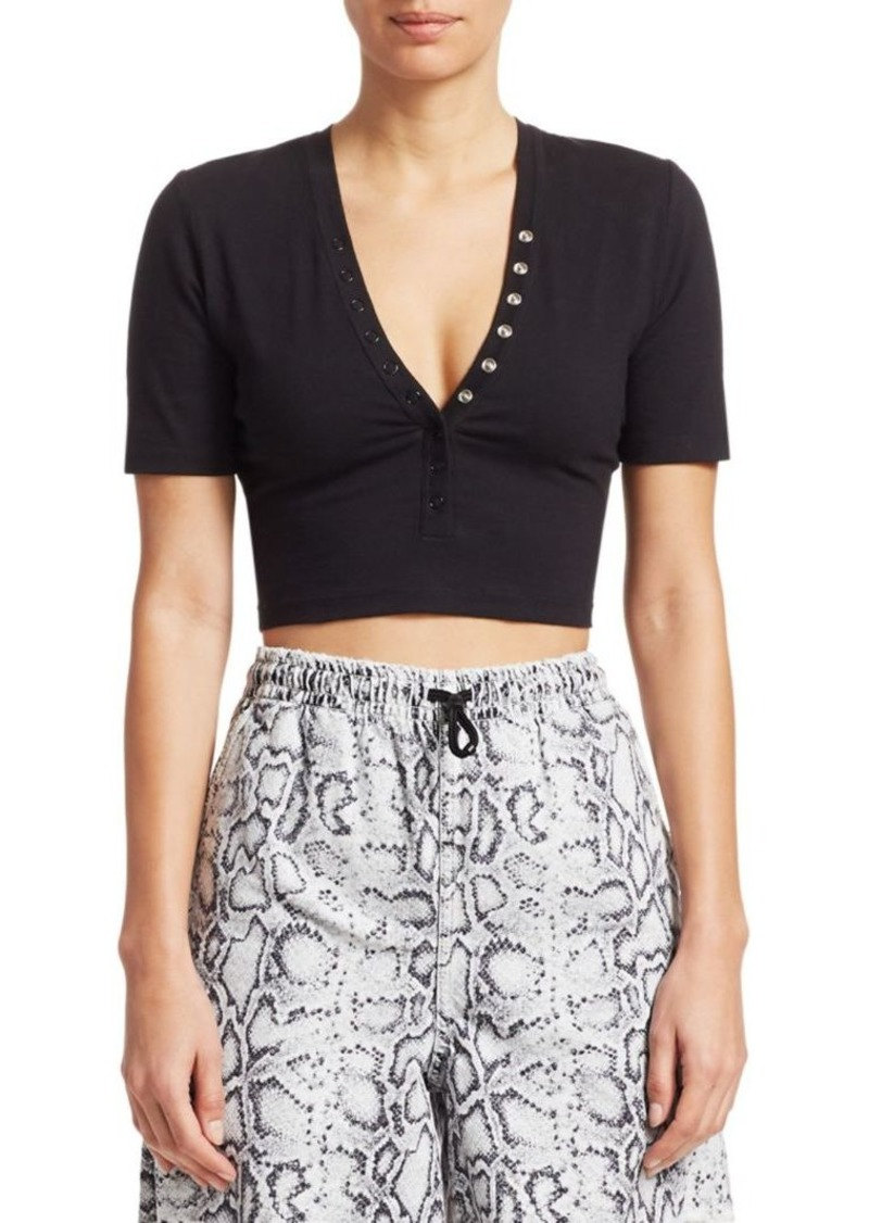 T by Alexander Wang Snap-Front Crop Top