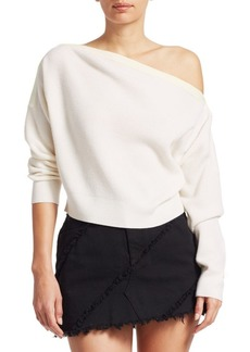 T by Alexander Wang Snap Off-The-Shoulder Wool Knit Sweater