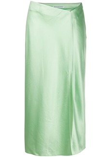 T by Alexander Wang split-hem satin midi skirt