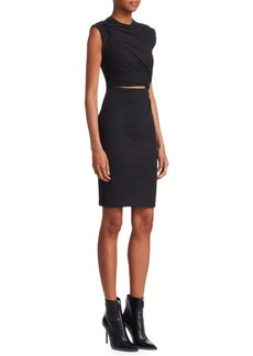 T by Alexander Wang Stretch Crepe Cutout Sheath Dress