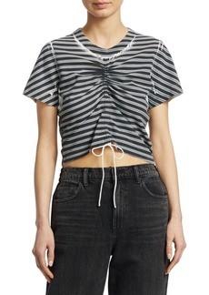 T by Alexander Wang Striped Crop Tee
